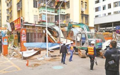 罗湖拆除友谊大厦小区一楼违法搭建